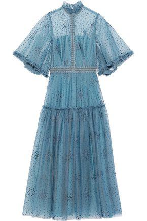 COSTARELLOS Appliquéd cotton-tulle midi dress
