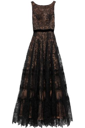 COSTARELLOS Velvet-trimmed guipure lace gown