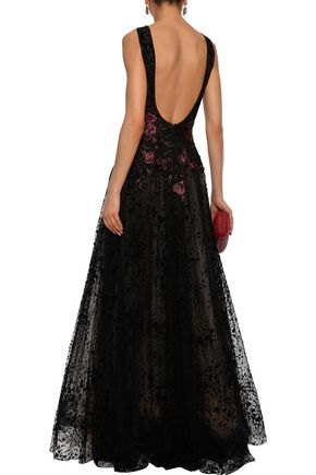 COSTARELLOS Open-back embellished flocked tulle gown