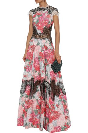 COSTARELLOS Leaver's lace-paneled printed jacquard gown