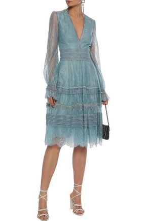 COSTARELLOS Fringed guipure lace-trimmed Chantilly lace dress