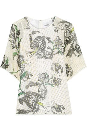 ERDEM Voni printed metallic fil coupé silk-blend blouse