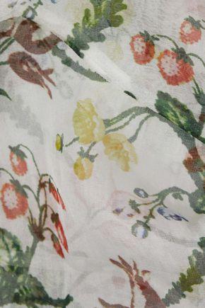 ERDEM Rosa tie-neck printed georgette top