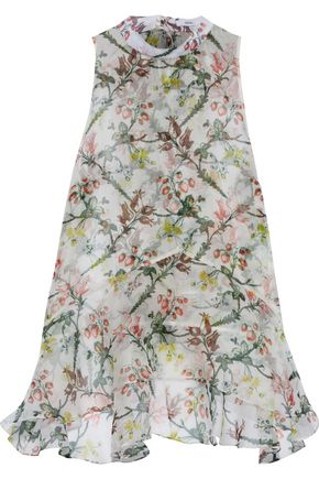 ERDEM Rosa tie-neck printed georgette top