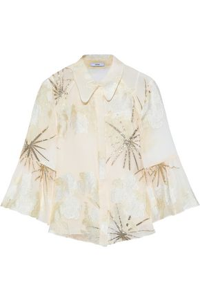 ERDEM Alita metallic fil coupé georgette shirt