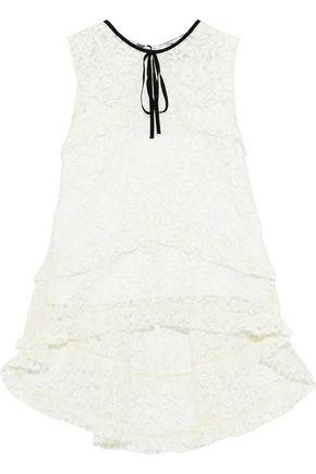 ERDEM Bessie grosgrain-trimmed silk corded lace top