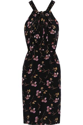 VANESSA BRUNO Pussy-bow floral-print silk dress