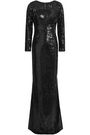 HALSTON HERITAGE Appliquéd sequined tulle gown