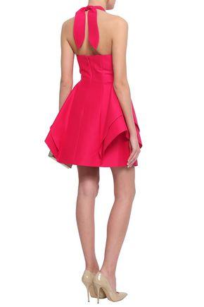 HALSTON HERITAGE Layered cotton and silk-blend halterneck mini dress