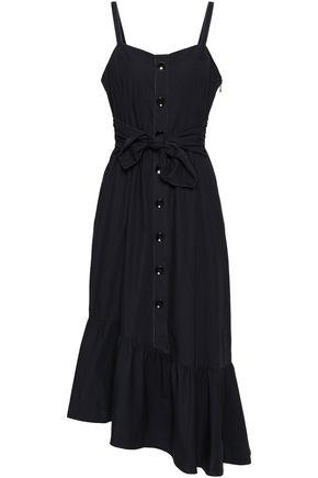 DEREK LAM 10 CROSBY Asymmetric tie-front cotton-poplin midi dress