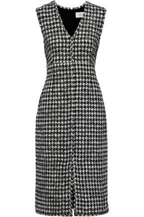 ERDEM Astrid metallic houndstooth cotton-blend tweed dress