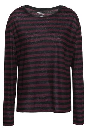 MAJESTIC FILATURES Striped slub cotton and cashmere-blend top