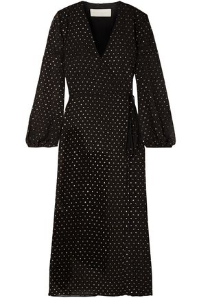 MICHELLE MASON Glittered polka-dot chiffon midi wrap dress