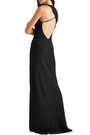 MICHELLE MASON Split-front cutout stretch-crepe gown