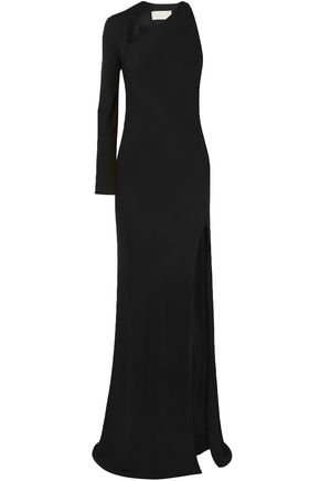 MICHELLE MASON Split-front cutout stretch-crepe gown