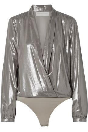 MICHELLE MASON Wrap-effect lamé thong bodysuit