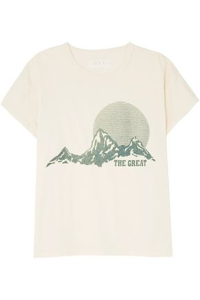 THE GREAT. The Boxy Crew printed cotton-jersey T-shirt