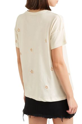THE GREAT. The Boxy Crew embroidered cotton-jersey T-shirt