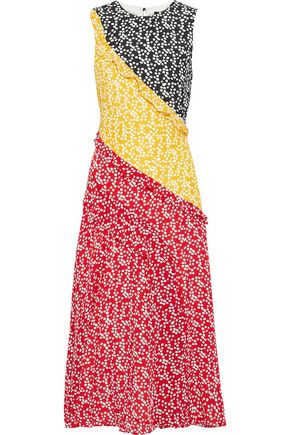 SALONI Agnes ruffle-trimmed printed silk crepe de chine midi dress