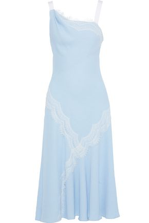PRABAL GURUNG Chantilly lace-trimmed jacquard midi dress