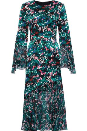 PRABAL GURUNG Printed chiffon-paneled silk-satin dress