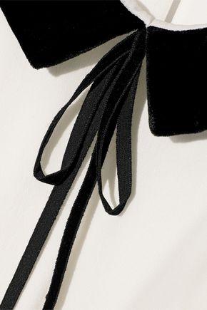 SALONI Joellie velvet-trimmed silk crepe de chine blouse