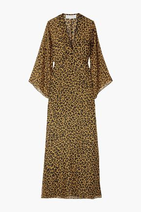 MICHELLE MASON Wrap-effect leopard-print silk-chiffon maxi dress