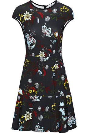 ERDEM Darlina fluted floral-print stretch-knit mini dress