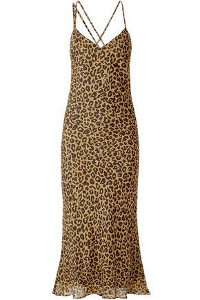 MICHELLE MASON Draped leopard-print silk-chiffon midi slip dress