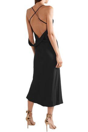 MICHELLE MASON Open-back draped crepe midi dress