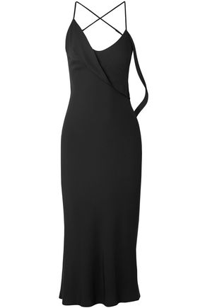 MICHELLE MASON Draped stretch-crepe midi slip dress