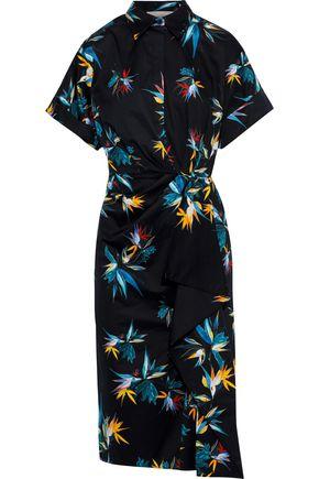JASON WU Gathered floral-print cotton-poplin shirt dress