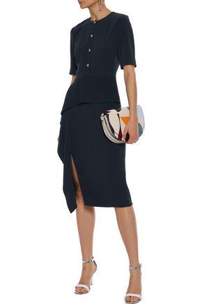 JASON WU Draped stretch-crepe peplum dress