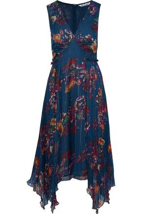 W118 by WALTER BAKER Teri lamé-trimmed pleated floral-print georgette dress