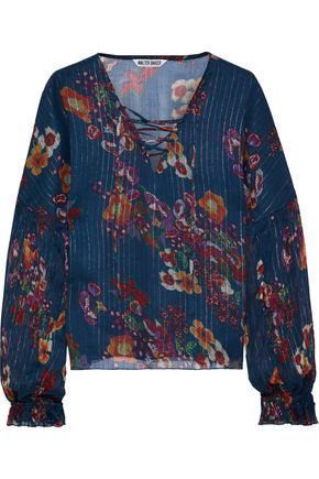 W118 by WALTER BAKER Castro lace-up metallic floral-print gauze blouse