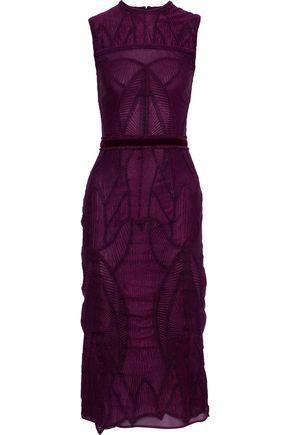 COSTARELLOS Velvet-trimmed guipure lace midi dress