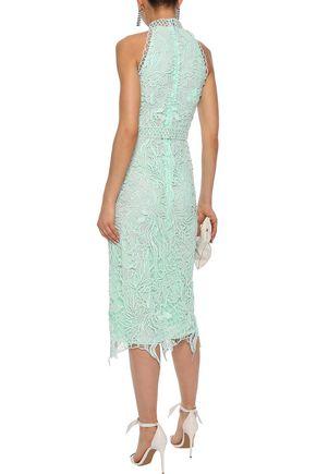 COSTARELLOS Guipure lace midi dress