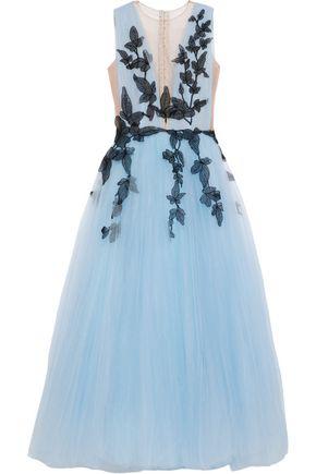 COSTARELLOS Appliquéd tulle gown