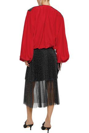 CHRISTOPHER KANE Tie-front crystal-embellished crepe de chine blouse