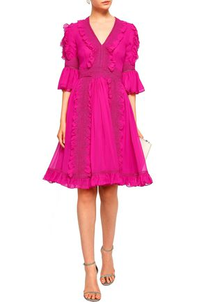 COSTARELLOS Lace-trimmed ruffled silk-georgette dress