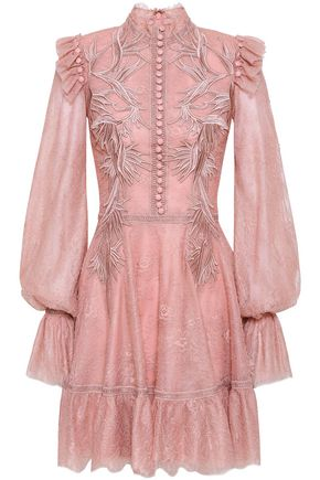 COSTARELLOS Flared embroidered lace mini dress