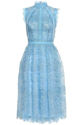 COSTARELLOS Velvet-trimmed flared lace midi dress