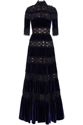 COSTARELLOS Paneled guipure lace and velvet gown