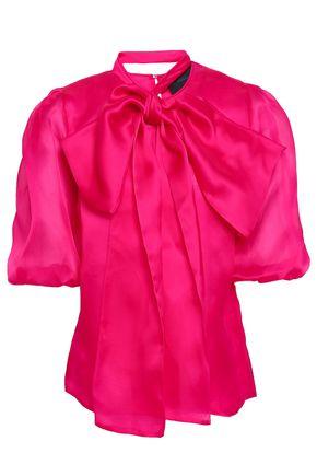 COSTARELLOS Pussy-bow silk-organza blouse
