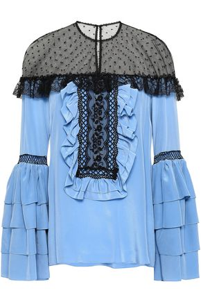 COSTARELLOS Ruffled silk-blend crepe de chine, lace and Swiss-dot tulle blouse
