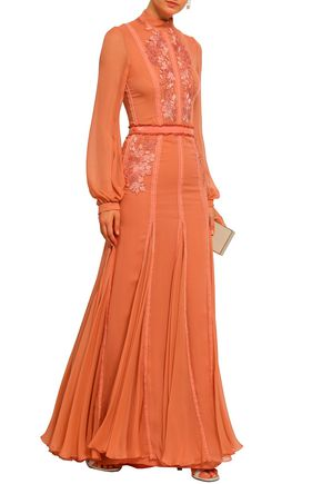 COSTARELLOS Velvet-trimmed embroidered silk-georgette gown
