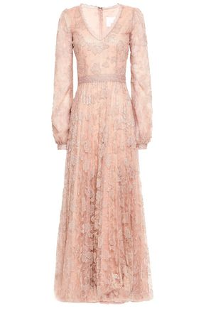 COSTARELLOS Sequin-embellished plissé corded lace gown