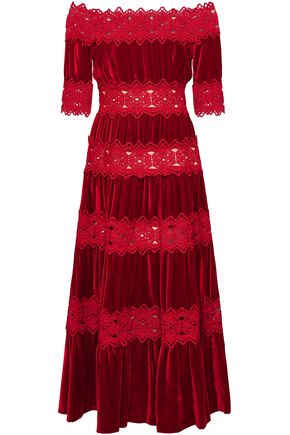 COSTARELLOS Off-the-shoulder gathered velvet and guipure lace midi dress