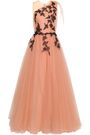 COSTARELLOS Pleated embroidered tulle gown