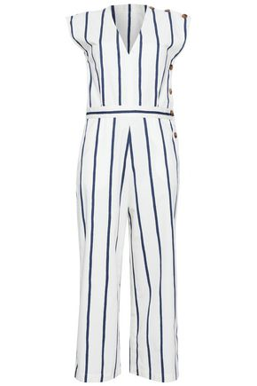M.I.H JEANS Elm cropped striped stretch-cotton jumpsuit